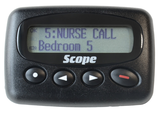 Scope GEO28 alphanumeric pager with plug top charger